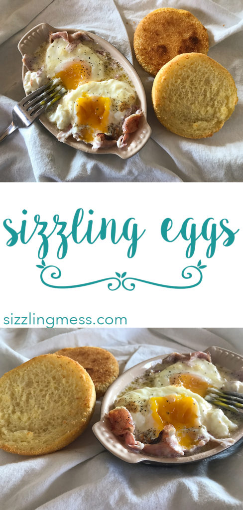 Sizzling Eggs, gluten free baked eggs, shirred eggs with ham