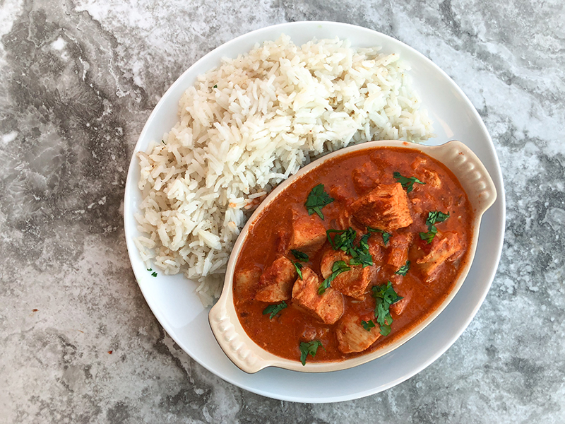 Chicken Tikka Masala with basmati rice.