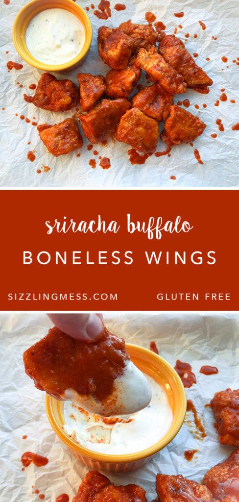 Gluten free sriracha buffalo boneless wings