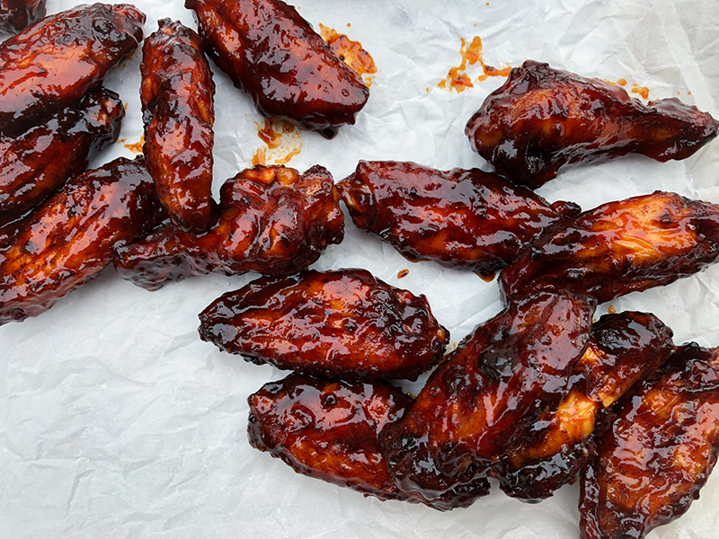 Sweet Barbecue Smoked Chicken Wings close up