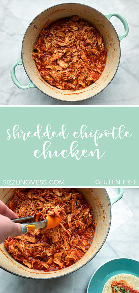 Shredded chipotle chicken is perfect for tacos, tostadas, or enchiladas. Make it ahead for a party or taco bar. Includes oven and slow cooker directions. Gluten free.