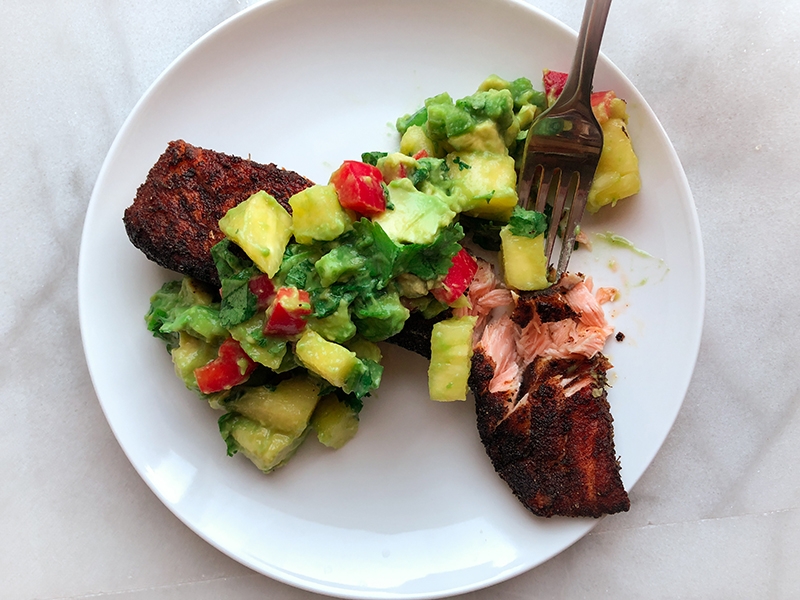 Blackened Salmon with Pineapple Avocado Salsa